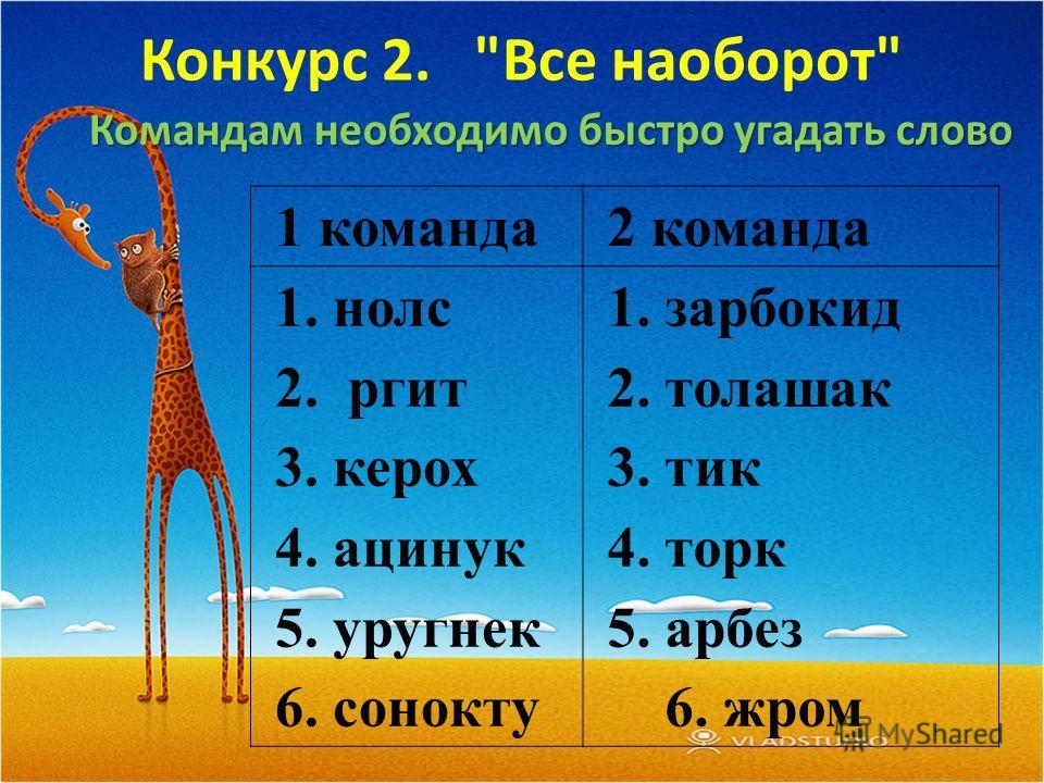 Конкурс 2. Все наоборот Командам необходимо быстро угадать слово 1 команда2 команда 1. нолс 2. ргит 3. керох 4. ацинук 5. уругнек 6. сонокту 1. зарбокид 2. толашак 3. тик 4. торк 5. арбез 6. жром