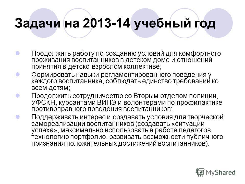 Задачи на 2013-14 учебный год Продолжить работу по созданию условий для комфортного проживания воспитанников в детском доме и отношений принятия в детско-взрослом коллективе; Формировать навыки регламентированного поведения у каждого воспитанника, со