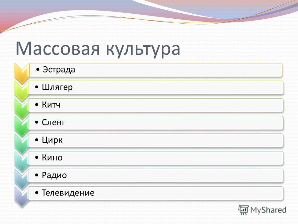 Массовая культура Эстрада Шлягер КитчСленгЦиркКиноРадиоТелевидение