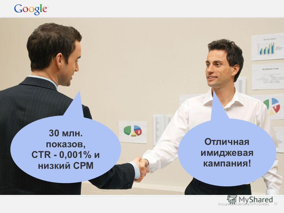 Google Confidential and Proprietary 10 Google Confidential and Proprietary 10 30 млн. показов, CTR - 0,001% и низкий CPM Отличная имиджевая кампания!