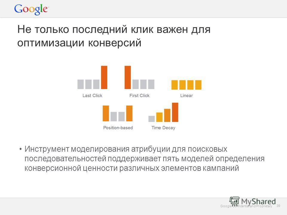 Google Confidential and Proprietary 39 Google Confidential and Proprietary 39 Не только последний клик важен для оптимизации конверсий Инструмент моделирования атрибуции для поисковых последовательностей поддерживает пять моделей определения конверси