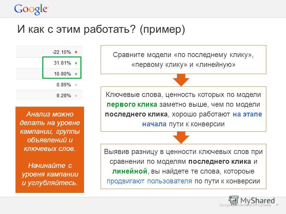 Google Confidential and Proprietary 41 Google Confidential and Proprietary 41 И как с этим работать? (пример) Сравните модели «по последнему клику», «первому клику» и «линейную» Ключевые слова, ценность которых по модели первого клика заметно выше, ч