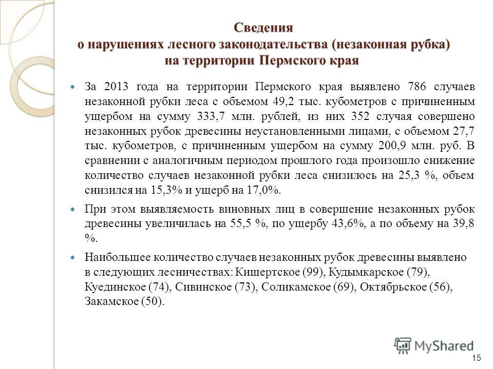 За 2013 года на территории Пермского края выявлено 786 случаев незаконной рубки леса с объемом 49,2 тыс. кубометров с причиненным ущербом на сумму 333,7 млн. рублей, из них 352 случая совершено незаконных рубок древесины неустановленными лицами, с об