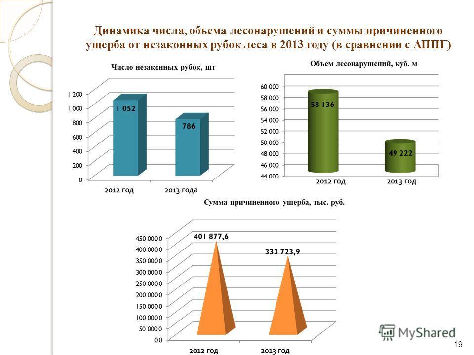 Динамика числа, объема лесонарушений и суммы причиненного ущерба от незаконных рубок леса в 2013 году (в сравнении с АППГ) 19