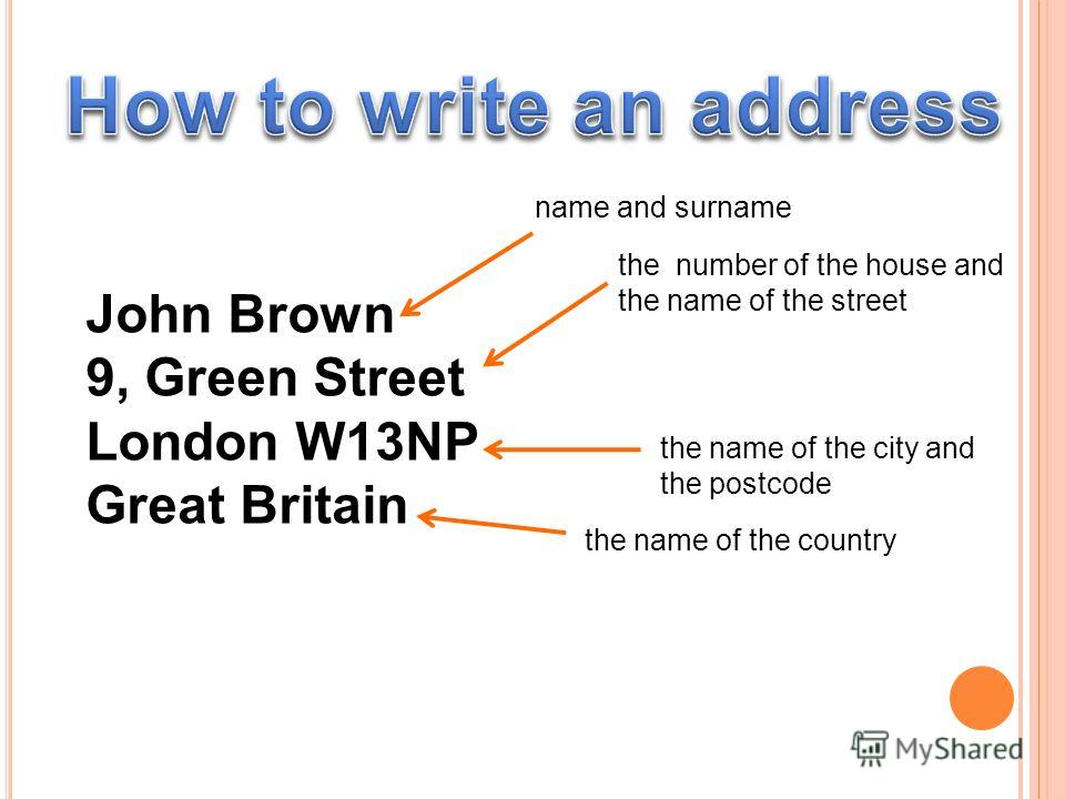 John Brown 9, Green Street London W13NP Great Britain name and surname the number of the house and the name of the street the name of the city and the postcode the name of the country