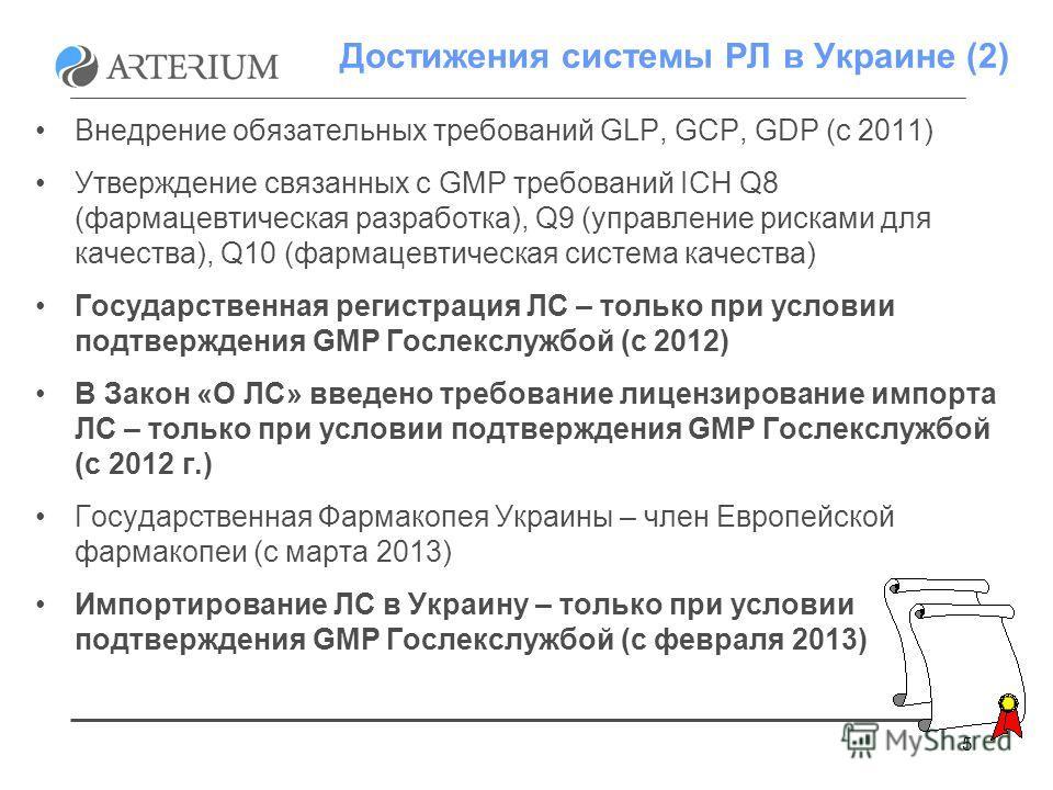 5 Достижения системы РЛ в Украине (2) Внедрение обязательных требований GLP, GCP, GDP (c 2011) Утверждение связанных с GMP требований ICH Q8 (фармацевтическая разработка), Q9 (управление рисками для качества), Q10 (фармацевтическая система качества)