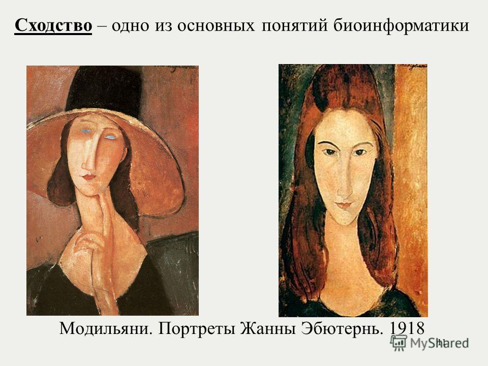 Модильяни. Портреты Жанны Эбютернь. 1918 Сходство – одно из основных понятий биоинформатики 11