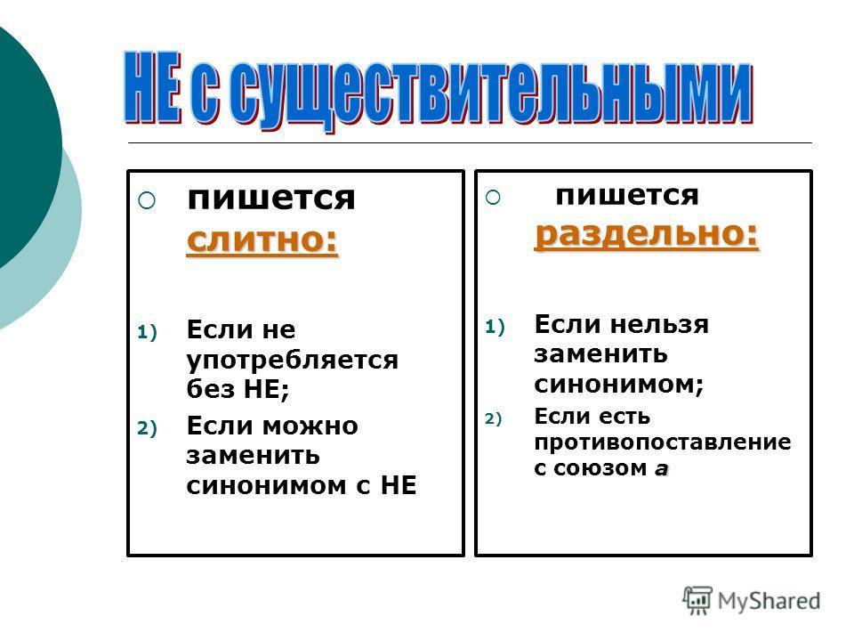 слитно: пишется слитно: 1) Если не употребляется без НЕ; 2) Если можно заменить синонимом с НЕ раздельно: пишется раздельно: 1) Если нельзя заменить синонимом; а 2) Если есть противопоставление с союзом а