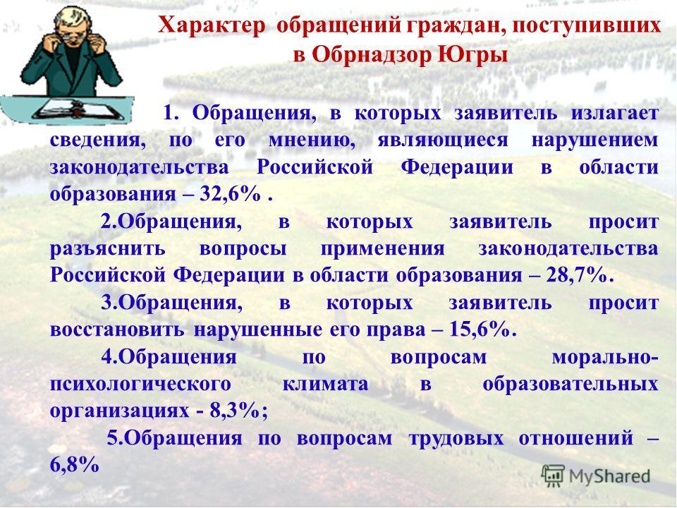 Характер обращений граждан, поступивших в Обрнадзор Югры 1. Обращения, в которых заявитель излагает сведения, по его мнению, являющиеся нарушением законодательства Российской Федерации в области образования – 32,6%. 2.Обращения, в которых заявитель п