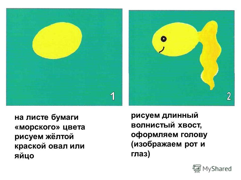 на листе бумаги «морского» цвета рисуем жёлтой краской овал или яйцо рисуем длинный волнистый хвост, оформляем голову (изображаем рот и глаз)