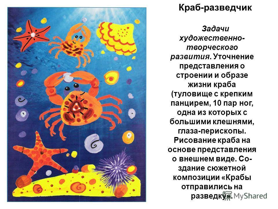 Краб-разведчик Задачи художественно- творческого развития. Уточнение представления о строении и образе жизни краба (туловище с крепким панцирем, 10 пар ног, одна из которых с большими клешнями, глаза-перископы. Рисование краба на основе представл