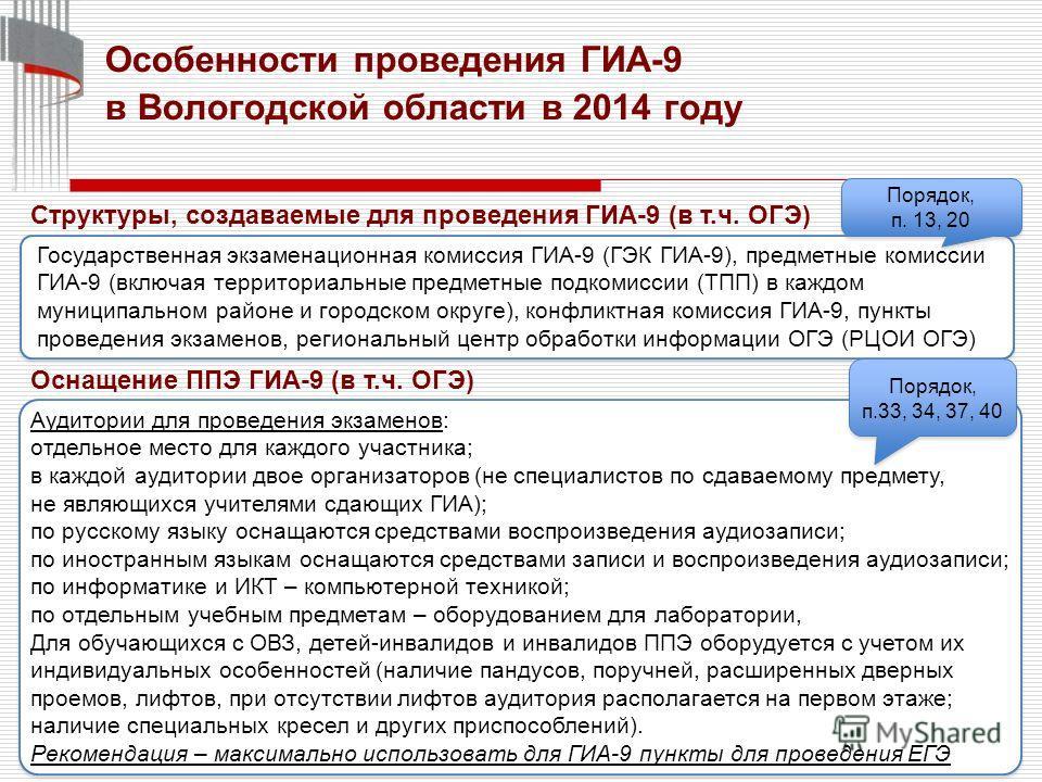 8 Особенности проведения ГИА-9 в Вологодской области в 2014 году Государственная экзаменационная комиссия ГИА-9 (ГЭК ГИА-9), предметные комиссии ГИА-9 (включая территориальные предметные подкомиссии (ТПП) в каждом муниципальном районе и городском окр