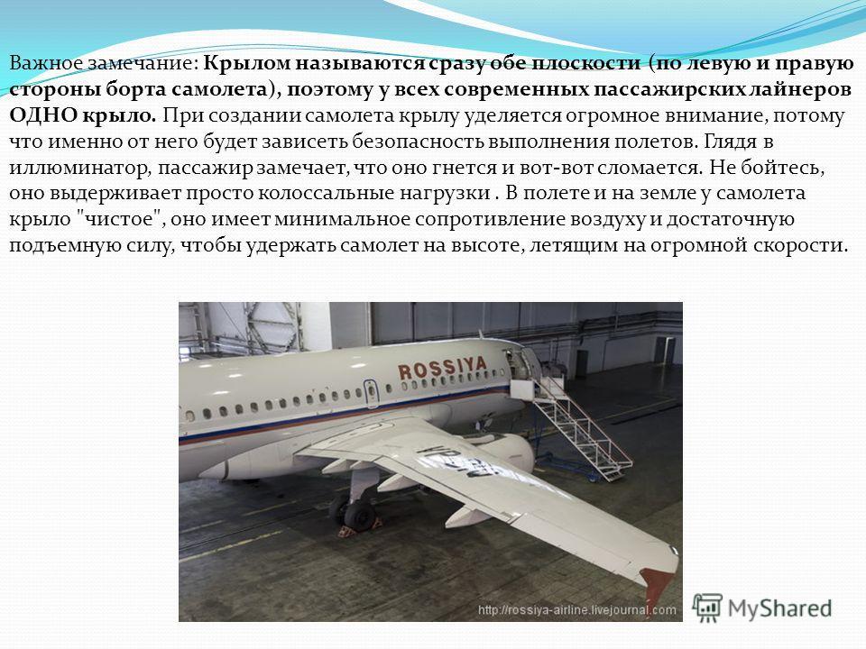 Важное замечание: Крылом называются сразу обе плоскости (по левую и правую стороны борта самолета), поэтому у всех современных пассажирских лайнеров ОДНО крыло. При создании самолета крылу уделяется огромное внимание, потому что именно от него будет