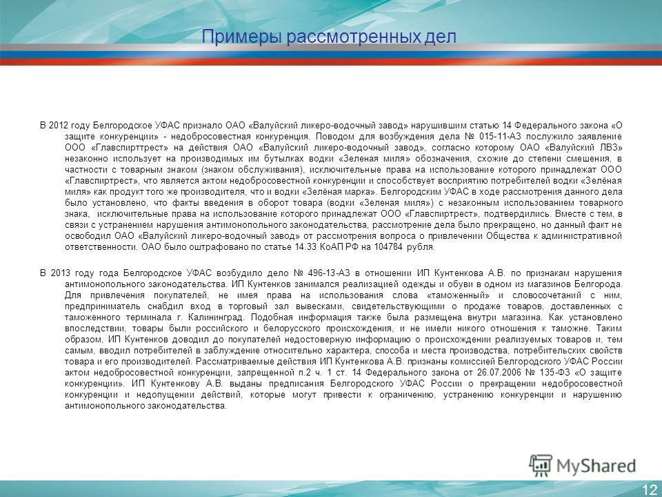 Примеры рассмотренных дел В 2012 году Белгородское УФАС признало ОАО «Валуйский ликеро-водочный завод» нарушившим статью 14 Федерального закона «О защите конкуренции» - недобросовестная конкуренция. Поводом для возбуждения дела 015-11-АЗ послужило за