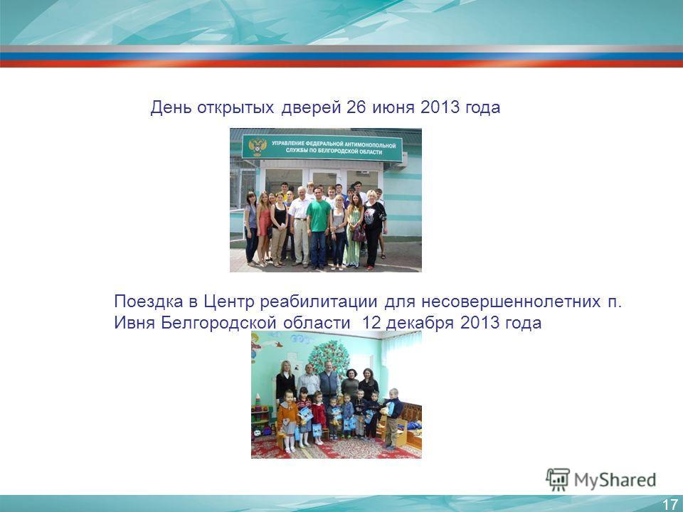 День открытых дверей 26 июня 2013 года 17 МЕРОПРИЯТИЯ БЕЛГОРОДСКОГО УФАС Поездка в Центр реабилитации для несовершеннолетних п. Ивня Белгородской области 12 декабря 2013 года