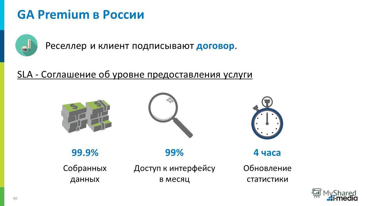 / 40 GA Premium в России Реселлер и клиент подписывают договор. SLA - Соглашение об уровне предоставления услуги Собранных данных Доступ к интерфейсу в месяц Обновление статистики 99.9% 99%4 часа