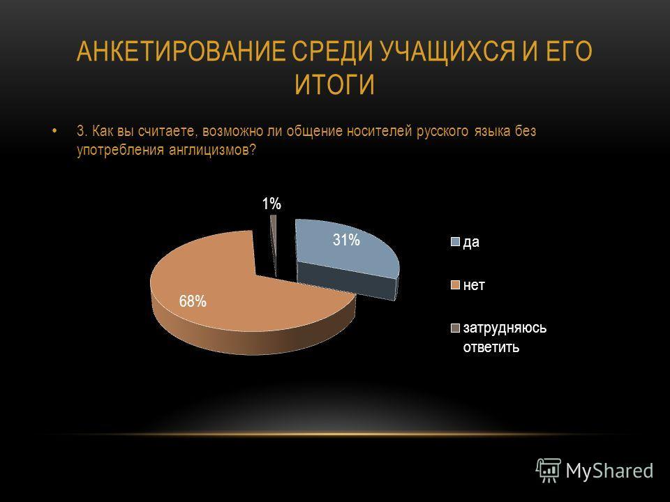 АНКЕТИРОВАНИЕ СРЕДИ УЧАЩИХСЯ И ЕГО ИТОГИ 3. Как вы считаете, возможно ли общение носителей русского языка без употребления англицизмов?