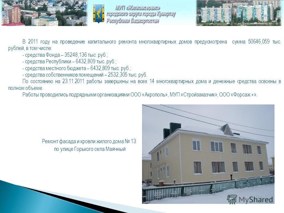 В 2011 году на проведение капитального ремонта многоквартирных домов предусмотрена сумма 50646,059 тыс. рублей, в том числе: - средства Фонда – 35248,136 тыс. руб.; - средства Республики – 6432,809 тыс. руб.; - средства местного бюджета – 6432,809 ты