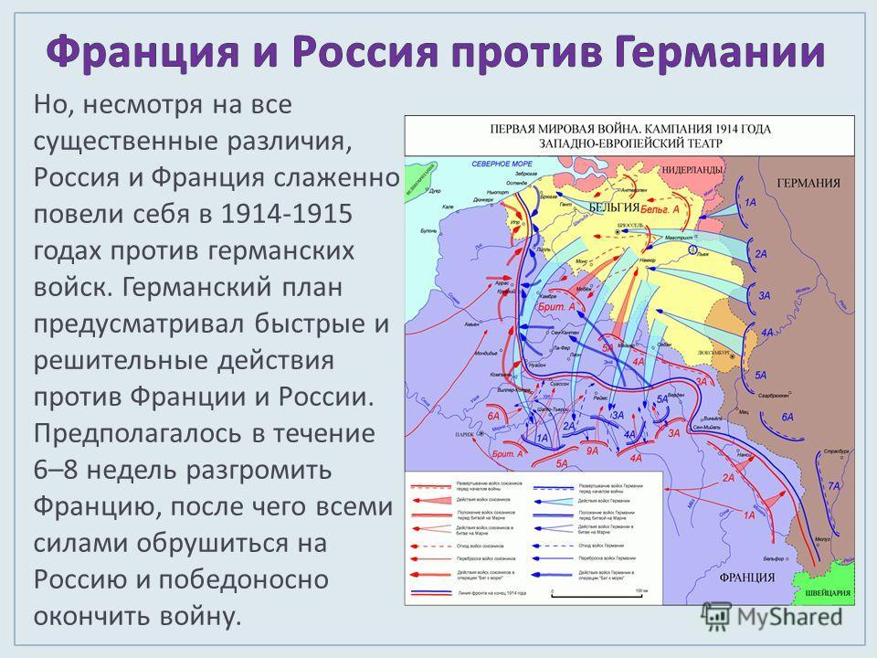 Но, несмотря на все существенные различия, Россия и Франция слаженно повели себя в 1914-1915 годах против германских войск. Германский план предусматривал быстрые и решительные действия против Франции и России. Предполагалось в течение 6–8 недель раз