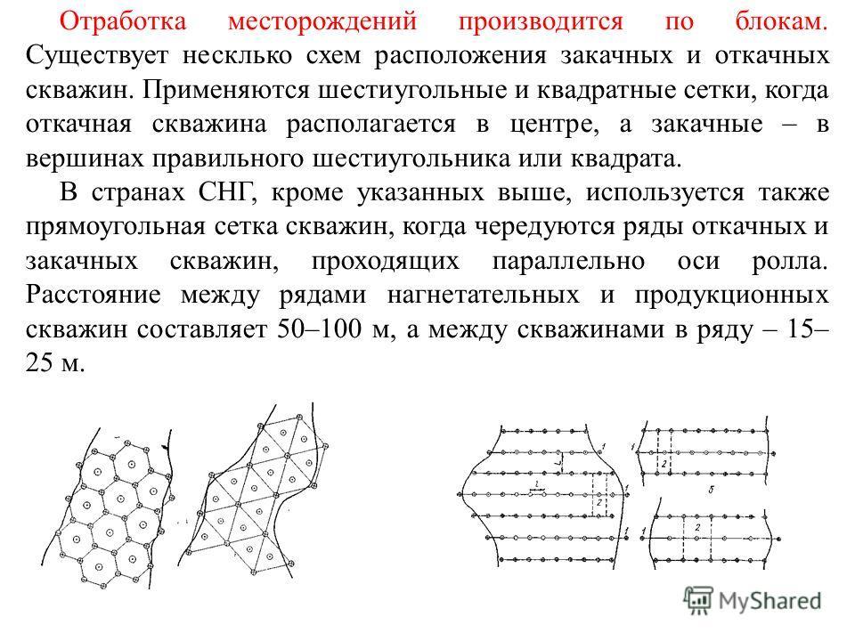 Отработка месторождений производится по блокам. Существует несклько схем расположения закачных и откачных скважин. Применяются шестиугольные и квадратные сетки, когда откачная скважина располагается в центре, а закачные – в вершинах правильного шести