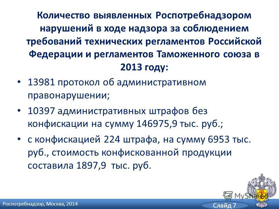 Количество выявленных Роспотребнадзором нарушений в ходе надзора за соблюдением требований технических регламентов Российской Федерации и регламентов Таможенного союза в 2013 году: 13981 протокол об административном правонарушении; 10397 администрати