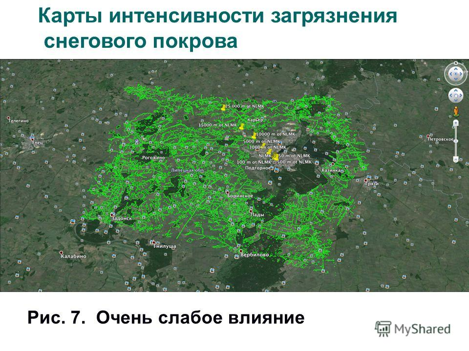 Рис. 7. Очень слабое влияние Карты интенсивности загрязнения снегового покрова
