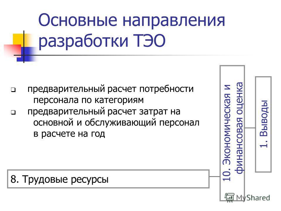 Основные направления разработки ТЭО 8. Трудовые ресурсы 10. Экономическая и финансовая оценка 1. Выводы предварительный расчет потребности персонала по категориям предварительный расчет затрат на основной и обслуживающий персонал в расчете на год
