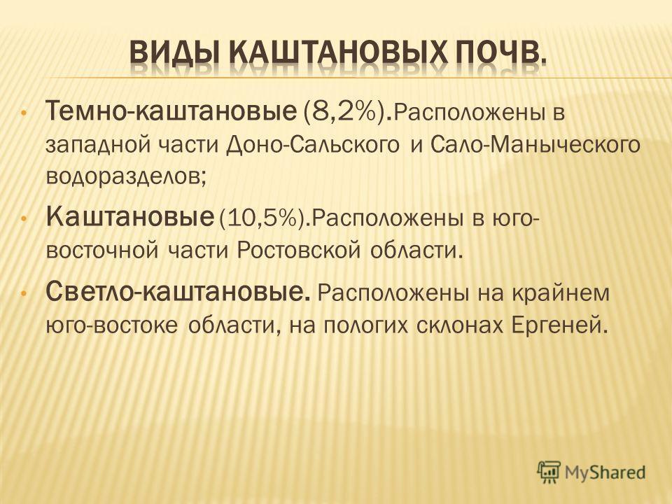 Темно-каштановые (8,2%). Расположены в западной части Доно-Сальского и Сало-Маныческого водоразделов; Каштановые (10,5%).Расположены в юго- восточной части Ростовской области. Светло-каштановые. Расположены на крайнем юго-востоке области, на пологих