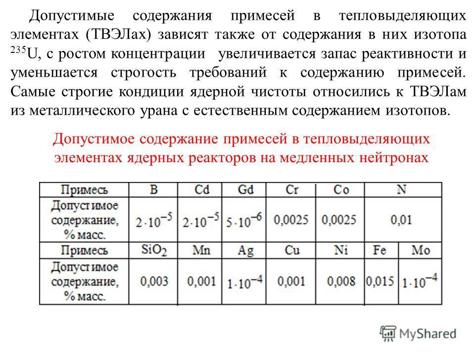 Допустимое содержание примесей в тепловыделяющих элементах ядерных реакторов на медленных нейтронах Допустимые содержания примесей в тепловыделяющих элементах (ТВЭЛах) зависят также от содержания в них изотопа 235 U, с ростом концентрации увеличивает