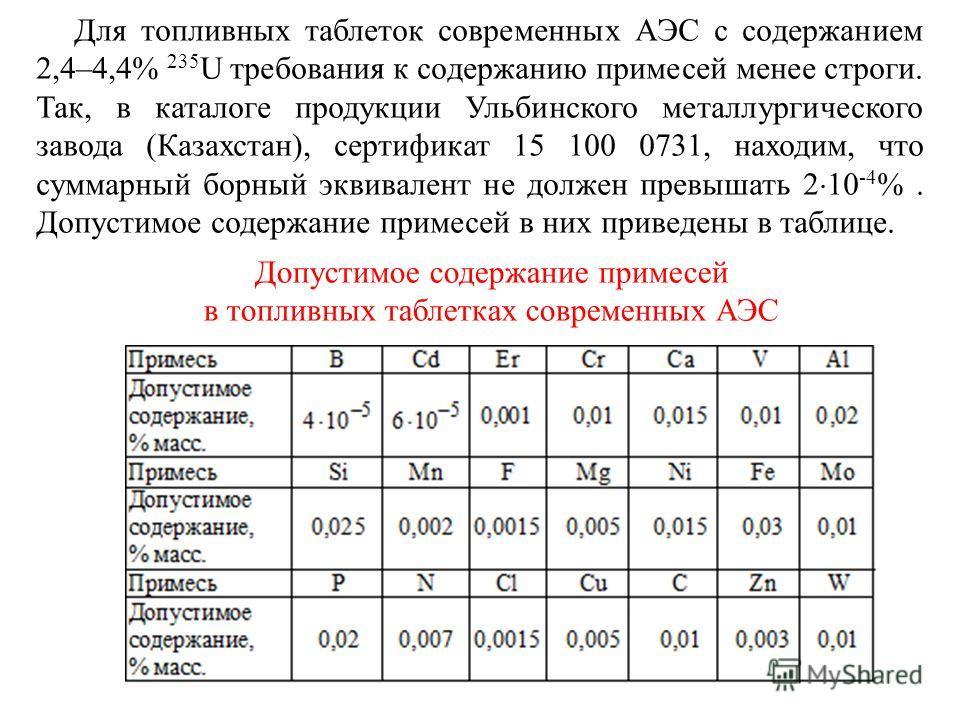 Для топливных таблеток современных АЭС с содержанием 2,4–4,4% 235 U требования к содержанию примесей менее строги. Так, в каталоге продукции Ульбинского металлургического завода (Казахстан), сертификат 15 100 0731, находим, что суммарный борный эквив