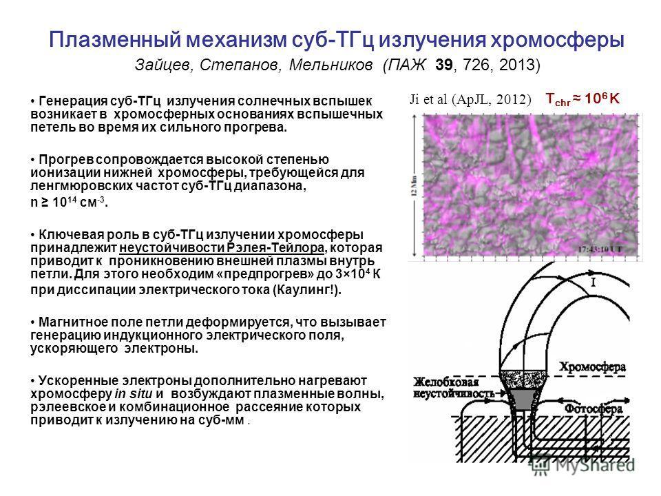 Плазменный механизм суб-ТГц излучения хромосферы Зайцев, Степанов, Мельников (ПАЖ 39, 726, 2013) Генерация суб-ТГц излучения солнечных вспышек возникает в хромосферных основаниях вспышечных петель во время их сильного прогрева. Прогрев сопровождается