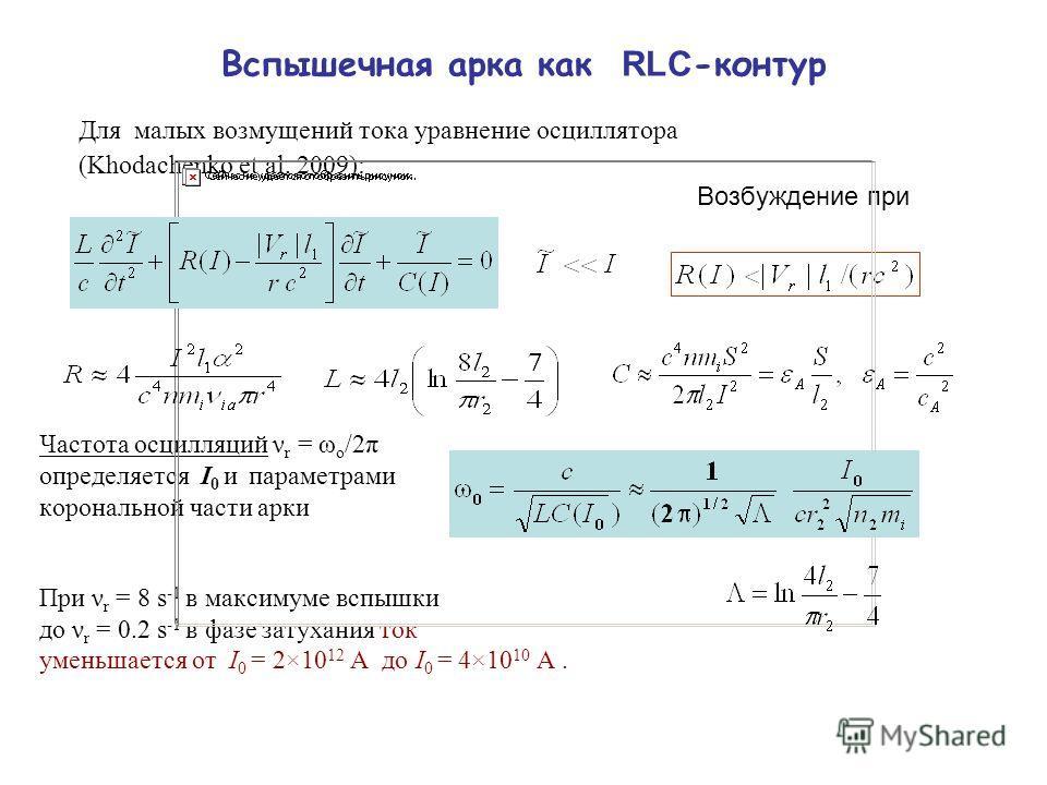 Вспышечная арка как RLC -контур Для малых возмущений тока уравнение осциллятора (Khodachenko et al. 2009): Возбуждение при Частота осцилляций ν r = ω o /2π определяется I 0 и параметрами корональной части арки При ν r = 8 s -1 в максимуме вспышки до