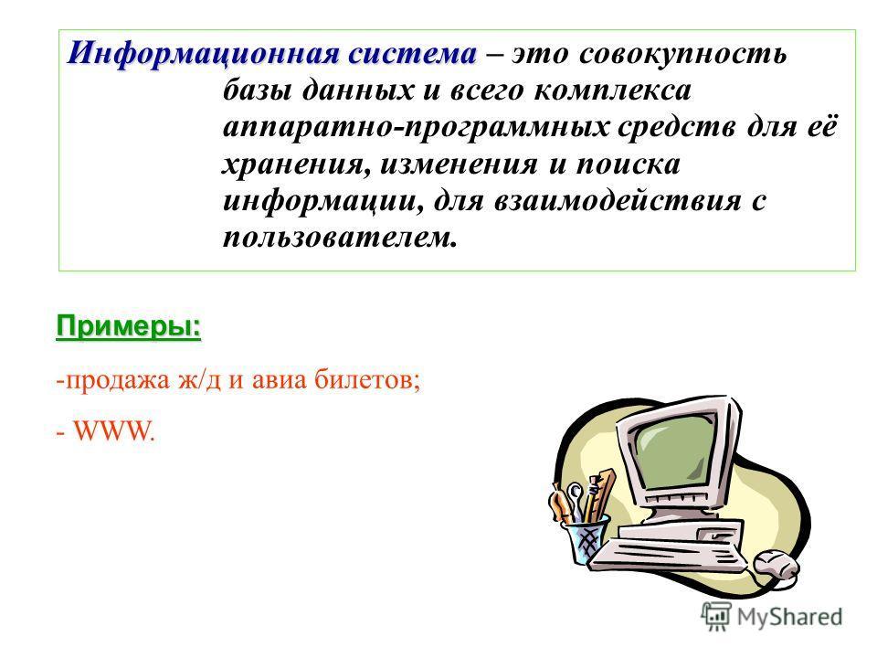 База данных (БД) – ограниченная совокупность данных, предназначенная дляхранения во внешней памяти компьютерадля постоянного применения и обработки. Примеры: - база данных книжного фонда библиотеки; - база данных кадрового состава учреждения; - база