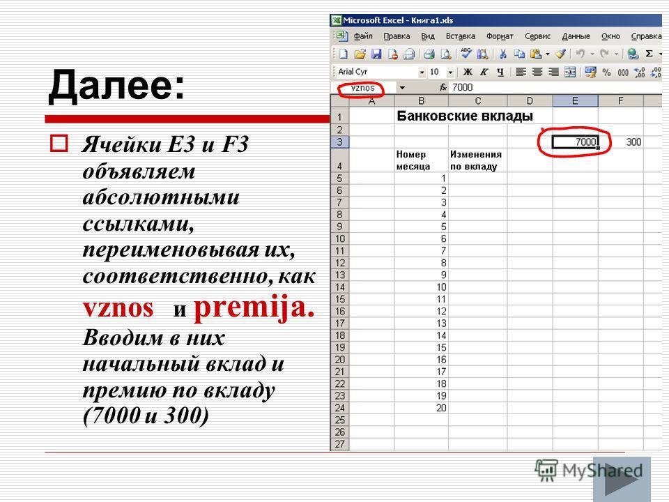 Далее: Ячейки Е3 и F3 объявляем абсолютными ссылками, переименовывая их, соответственно, как vznos и premija. Вводим в них начальный вклад и премию по вкладу (7000 и 300)