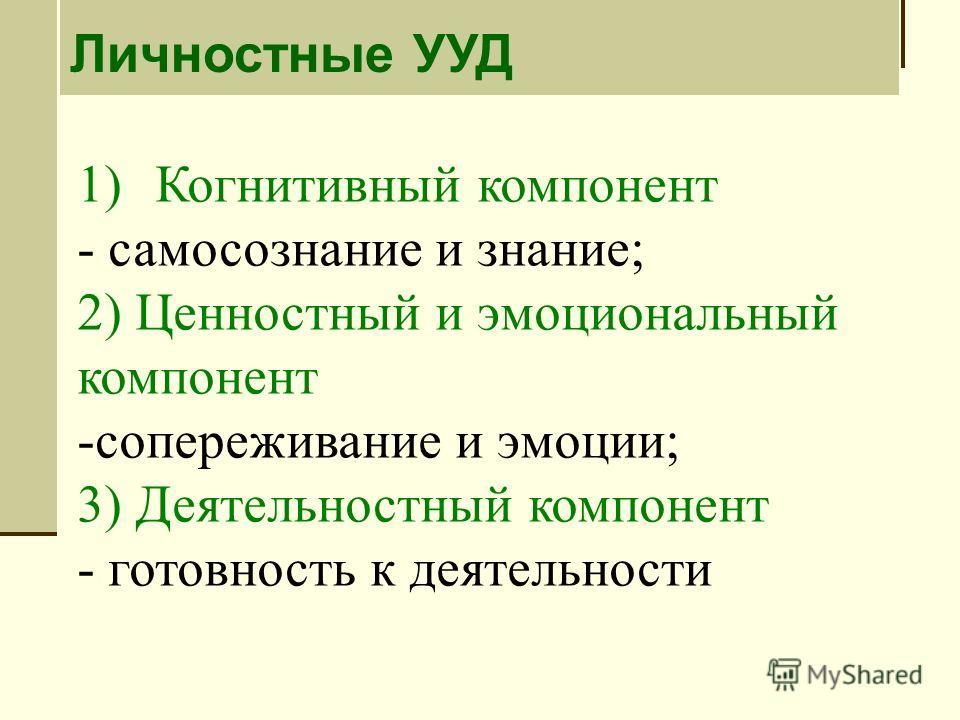 1)Когнитивный компонент - самосознание и знание; 2) Ценностный и эмоциональный компонент -сопереживание и эмоции; 3) Деятельностный компонент - готовность к деятельности Личностные УУД