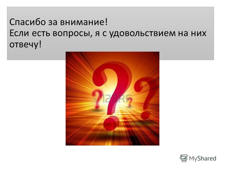 Спасибо за внимание! Если есть вопросы, я с удовольствием на них отвечу!