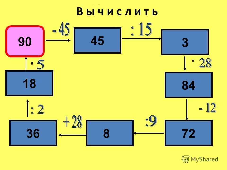 Математика В ы ч и с л и т ь 90 45 3 84 72836 18
