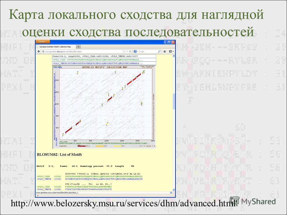 http://www.belozersky.msu.ru/services/dhm/advanced.html Карта локального сходства для наглядной оценки сходства последовательностей