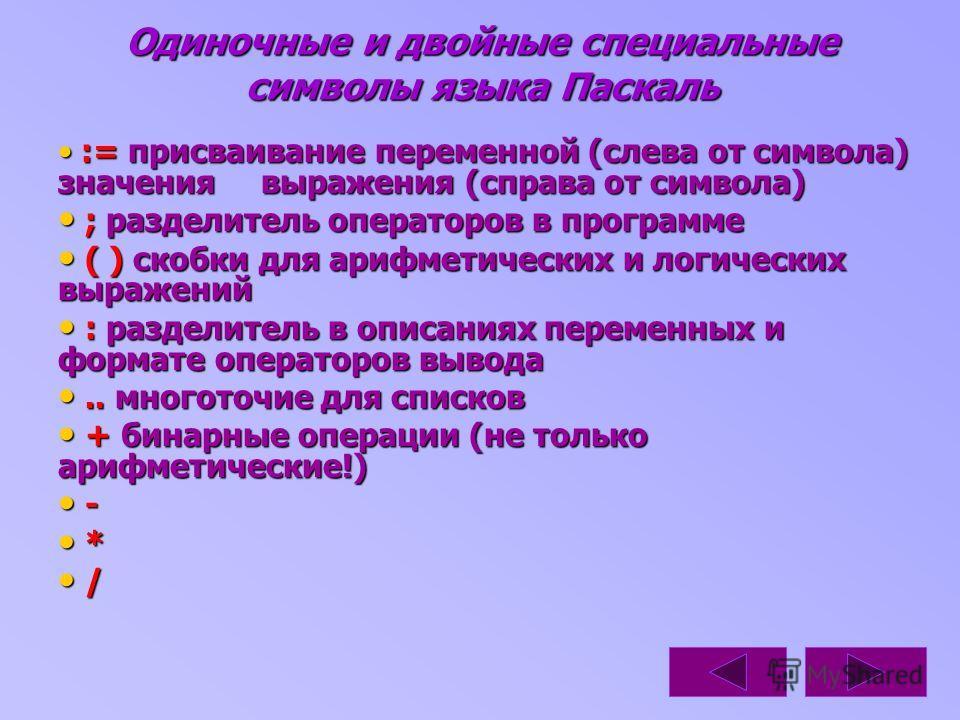 Одиночные и двойные специальные символы языка Паскаль := присваивание переменной (слева от символа) значения выражения (справа от символа) := присваивание переменной (слева от символа) значения выражения (справа от символа) ; разделитель операторов в