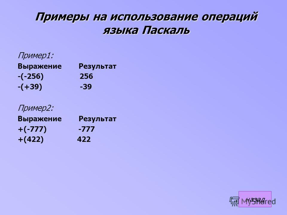 Примеры на использование операций языка Паскаль Пример1: Выражение Результат -(-256) 256 -(+39) -39 Пример2: Выражение Результат +(-777) -777 +(422) 422 назад