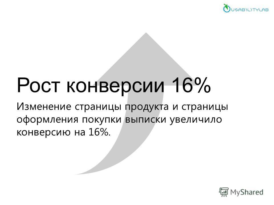Рост конверсии 16% Изменение страницы продукта и страницы оформления покупки выписки увеличило конверсию на 16%.