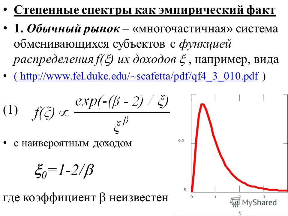 Степенные спектры как эмпирический факт 1. Обычный рынок – «многочастичная» система обменивающихся субъектов с функцией распределения f( ) их доходов, например, вида ( http://www.fel.duke.edu/~scafetta/pdf/qf4_3_010.pdf ) ( http://www.fel.duke.edu/~s