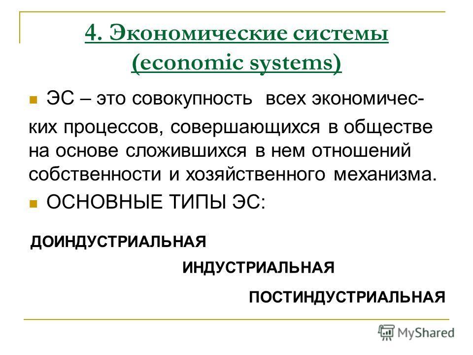 ЭС – это совокупность всех экономичес- ких процессов, совершающихся в обществе на основе сложившихся в нем отношений собственности и хозяйственного механизма. ОСНОВНЫЕ ТИПЫ ЭС: 4. Экономические системы (economic systems) ДОИНДУСТРИАЛЬНАЯ ИНДУСТРИАЛЬН