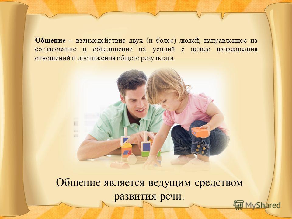 Общение – взаимодействие двух (и более) людей, направленное на согласование и объединение их усилий с целью налаживания отношений и достижения общего результата. Общение является ведущим средством развития речи.
