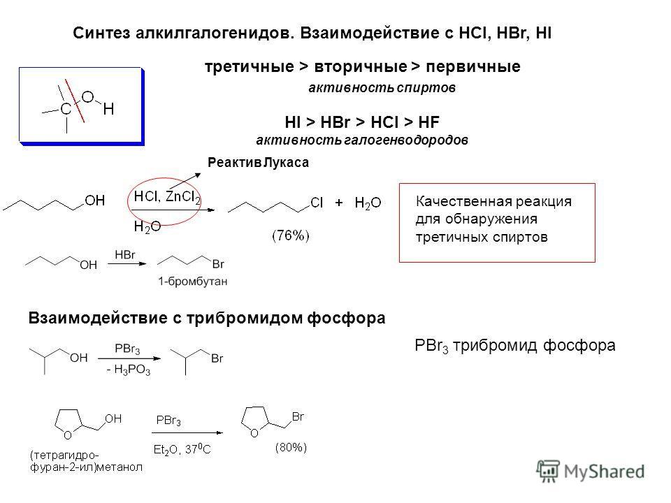 Синтез алкилгалогенидов. Взаимодействие с HCl, HBr, HI Реактив Лукаса Качественная реакция для обнаружения третичных спиртов третичные > вторичные > первичные активность спиртов HI > HBr > HCl > HF активность галогенводородов Взаимодействие с трибром