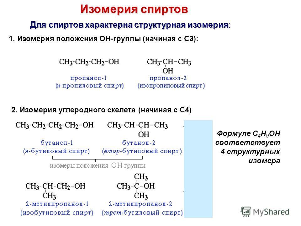 Изомерия спиртов Для спиртов характерна структурная изомерия: 1. Изомерия положения ОН-группы (начиная с С3): 2. Изомерия углеродного скелета (начиная с С4) Формуле C 4 H 9 OH соответствует 4 структурных изомера