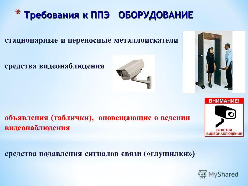 * Требования к ППЭ ОБОРУДОВАНИЕ стационарные и переносные металлоискатели средства видеонаблюдения объявления (таблички), оповещающие о ведении видеонаблюдения средства подавления сигналов связи («глушилки»)