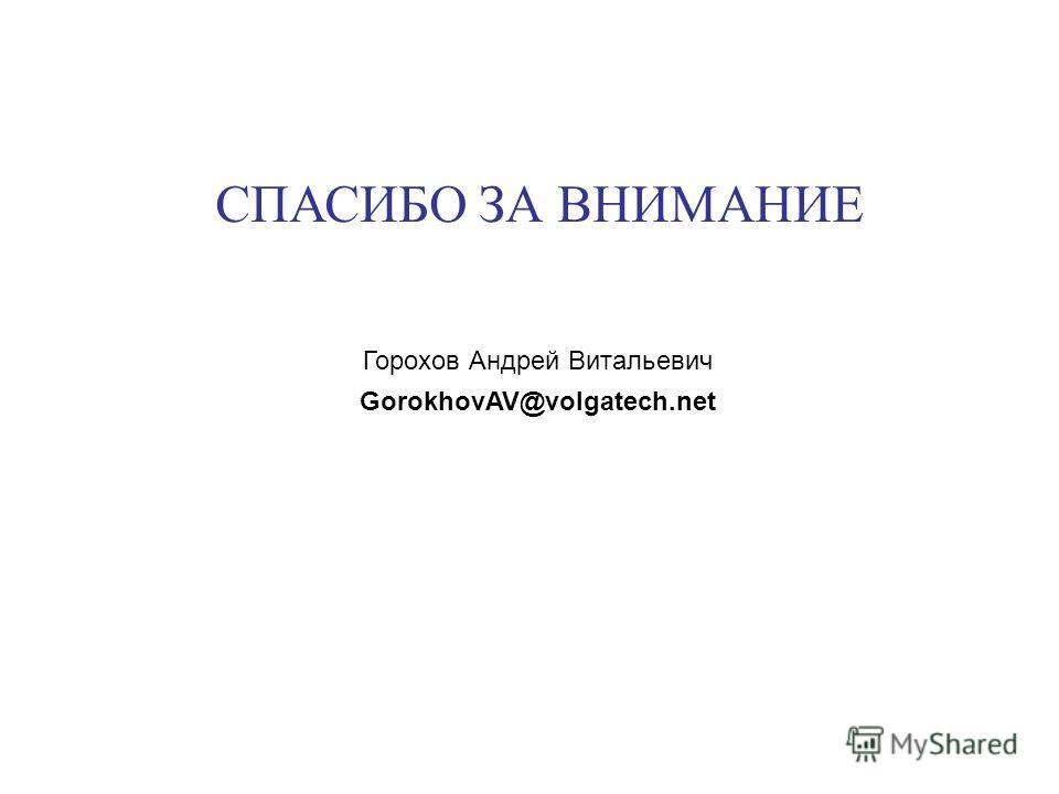СПАСИБО ЗА ВНИМАНИЕ Горохов Андрей Витальевич GorokhovAV@volgatech.net