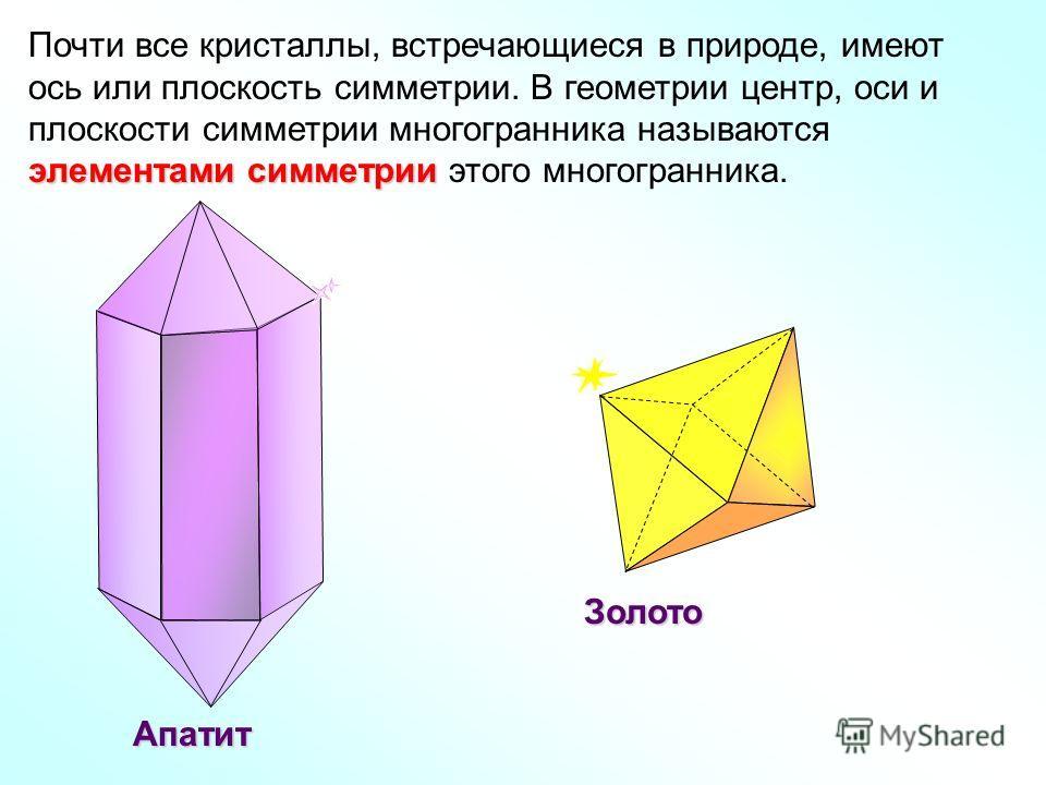 Почти все кристаллы, встречающиеся в природе, имеют элементами симметрии ось или плоскость симметрии. В геометрии центр, оси и плоскости симметрии многогранника называются элементами симметрии этого многогранника. Апатит Золото