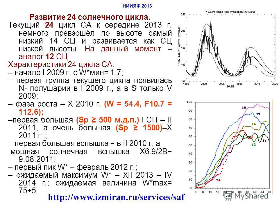 Развитие 24 солнечного цикла. Текущий 24 цикл СА к середине 2013 г. немного превзошёл по высоте самый низкий 14 СЦ и развивается как СЦ низкой высоты. На данный момент – аналог 12 СЦ. Характеристики 24 цикла СА: – начало I 2009 г. с W*мин= 1.7; – пер